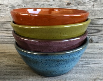 Set of 4 Brightly glazed Pottery Soup or Cereal Bowls, handmade pottery  bowls made to order