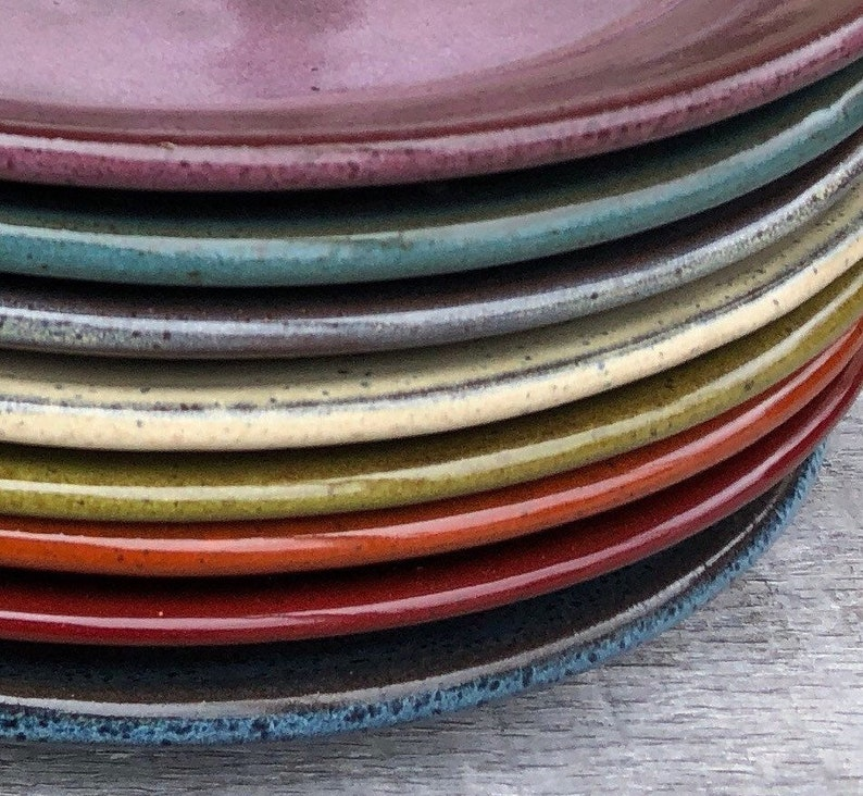 Pottery dinner plates set of EIGHT wheel thrown dinner plates image 0