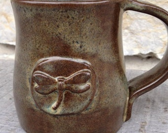 Dragonfly Pottery Handcrafted, wheel thrown Dragonfly Mug in Iron Lustre
