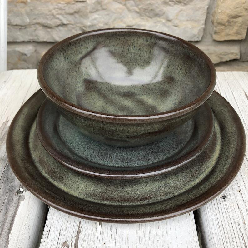 Pottery dinnerware set in Iron Lustre handmade dishes image 0