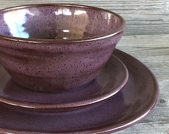 Purple Pottery Dinnerware handmade dishes made to order