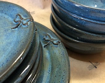 Dragonfly Pottery Dinnerware, Stoneware, Wheel Thrown Place Setting for Four made to order