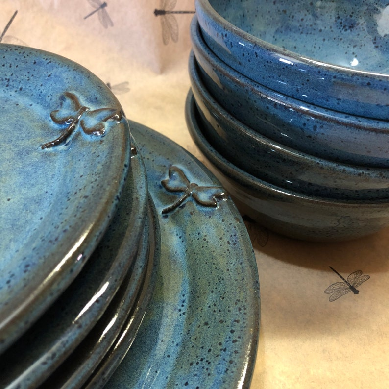 Dragonfly Pottery Dinnerware Stoneware Wheel Thrown Place image 0