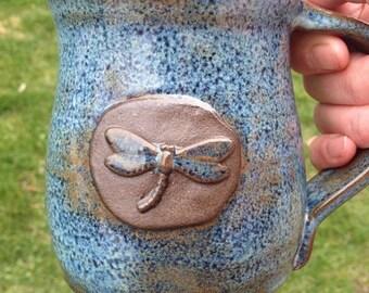 Rutile Blue Dragonfly Mug on Dark Clay