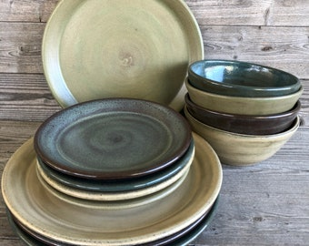 Mixed glaze dinnerware service for four. Handmade pottery dishes. made to order