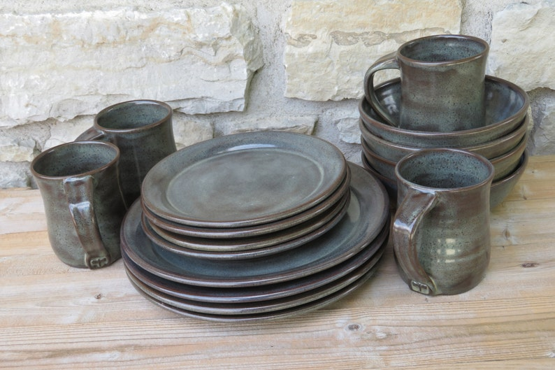 Pottery Dinnerware service for four handmade dishes Iron Lustre (shown)