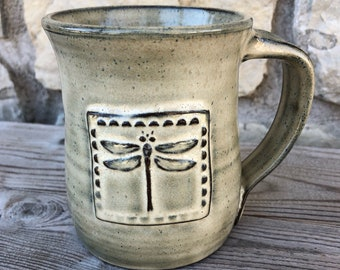 Beautifully Handcrafted Pottery Mug with Square Dragonfly made to order