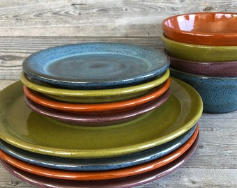 Bright Mixed glaze dinnerware service for four. Handmade pottery dishes. made to order