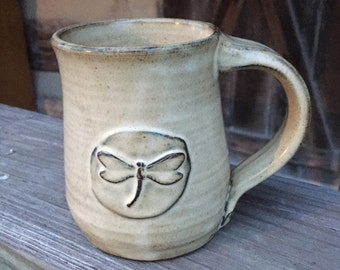 Beautifully Handcrafted Pottery Mug with Dragonfly