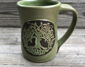 Celtic Tree of Life Pottery Mug with roots green tea glaze made to order