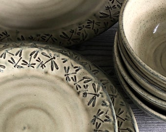 Dragonfly pottery  12-16 piece dinnerware set with embossed dragonflies service for four made to order