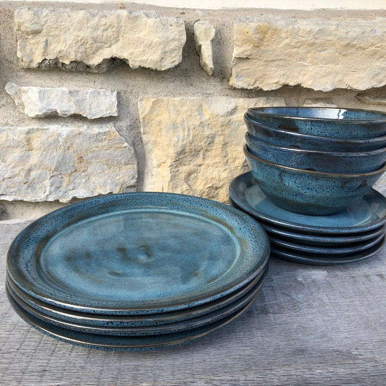 Blue Pottery Dinnerware service for four 12-16pc handmade image 0