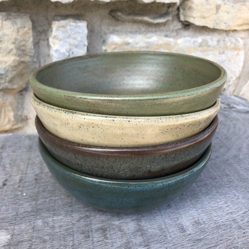 Set of 4 Pottery Soup or Cereal Bowls handmade pottery  bowls main photo mix of 4