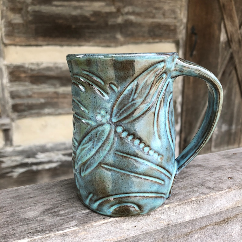 Dragonfly mug handcrafted Dragonfly Pottery image 0