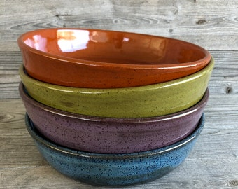 Set of FOUR bright mixed Pasta Bowls, Buddha Bowls, Power Bowls handmade pottery bowls made to order