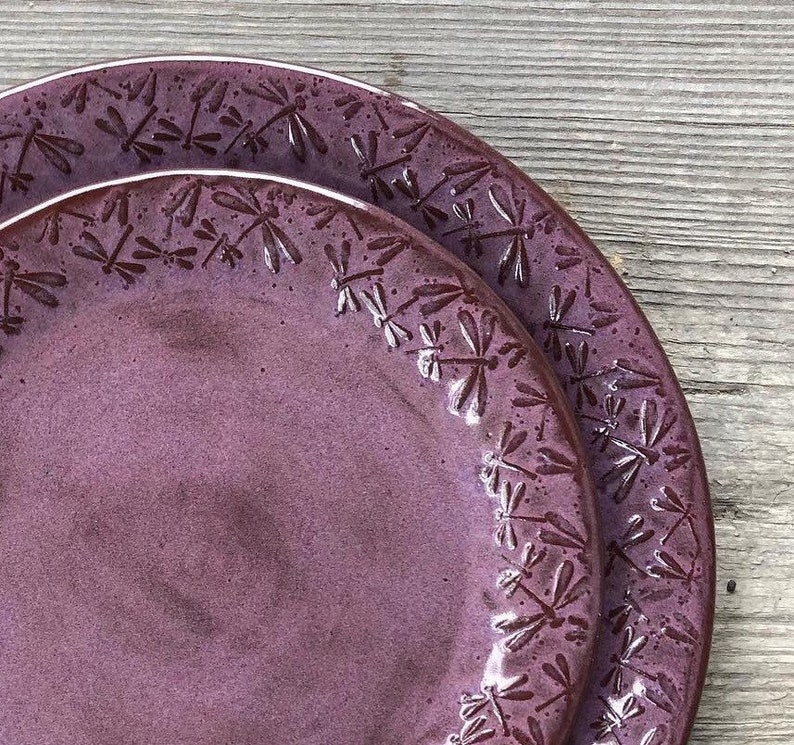 Dragonfly Pottery Plates embossed with dancing Dragonflies 2pc image 0