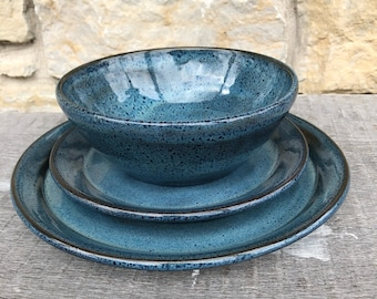 Pottery Dinnerware set in Rutile Blue on Dark Clay