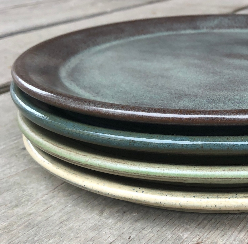 Handmade pottery dinner plates... Set of four mix and match one of each