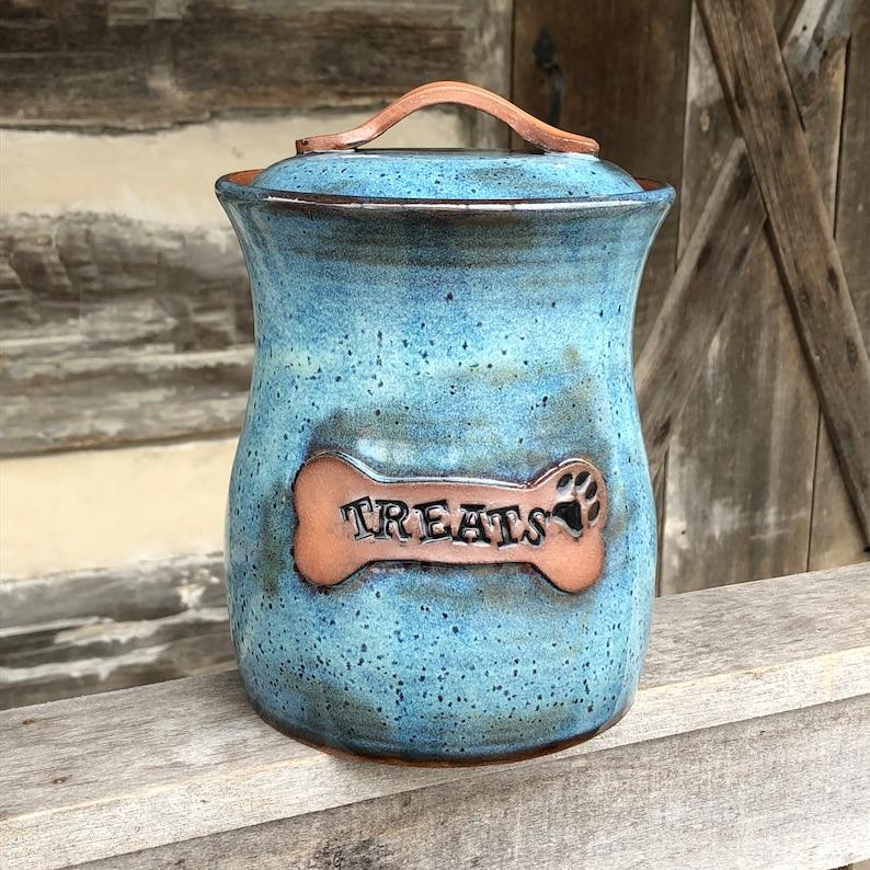 Dog treat canister jar rutile blue pottery handmade image 0