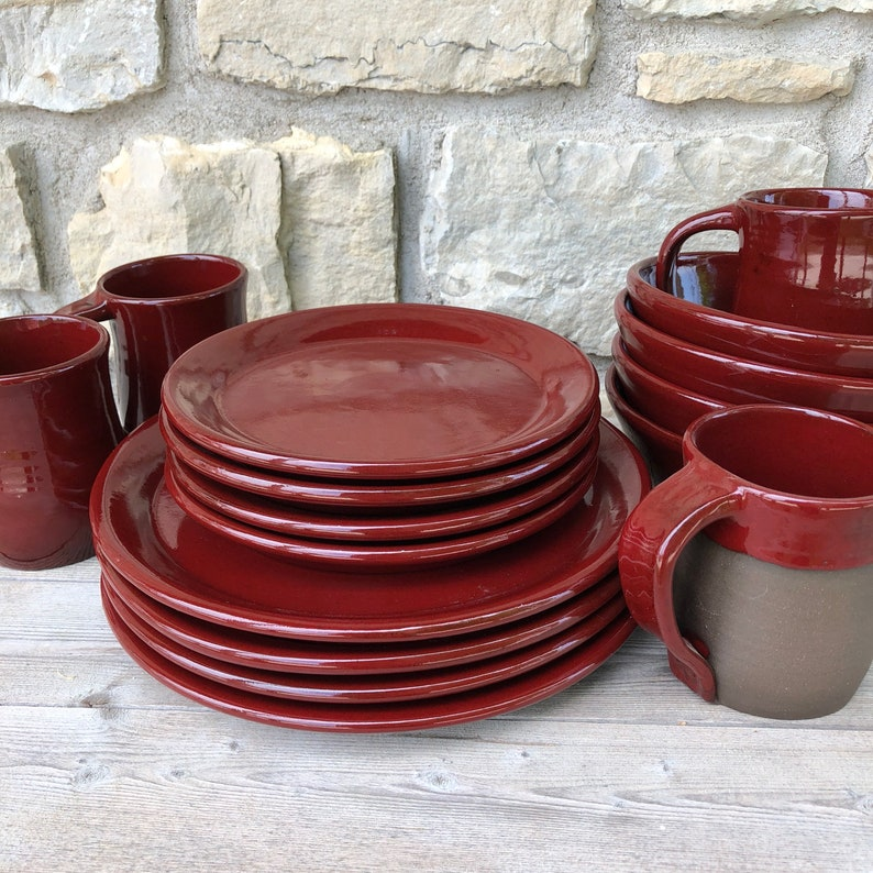 Red Pottery Dinnerware service for four handmade dishes image 0