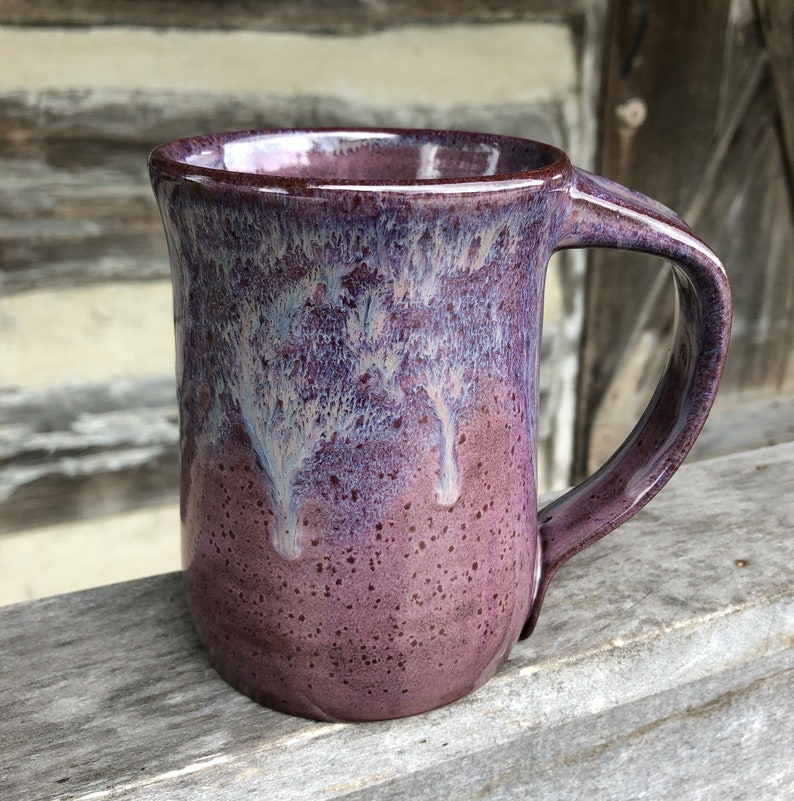 Purple Pottery mug with dripping glaze image 0
