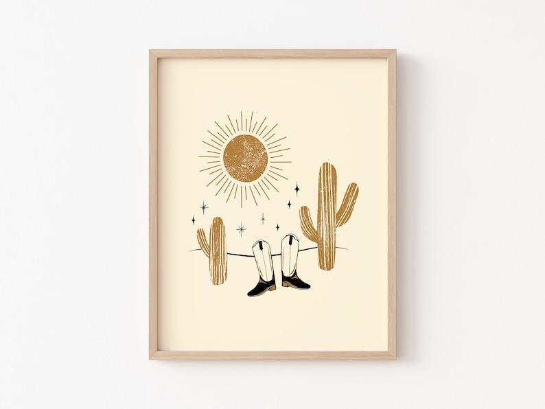 boho nursery art neutral boho print cowboy print western printable neutral nursery wall art Desert Printable cactus print