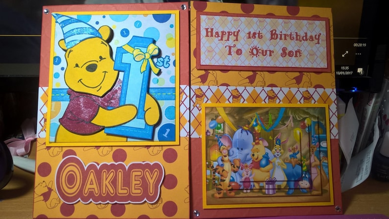 Winnie The Pooh 1st Birthday Card Large A4 Childs