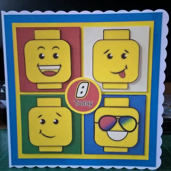 Lego Birthday Card Lego Heads Boys Birthday Girls Birthday Etsy