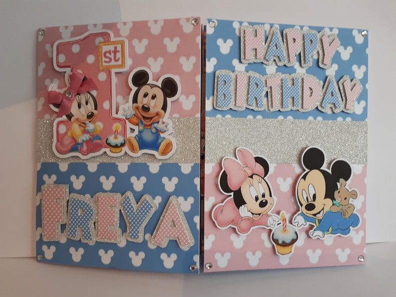 Baby Micky And Minnie Card Large Birthday Mickey