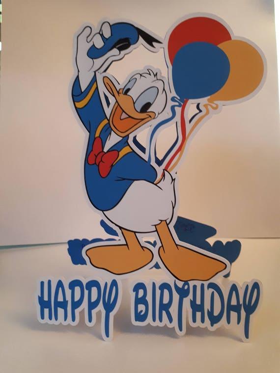 Donald Duck shaped card Donald Duck Birthday Card Disney | Etsy