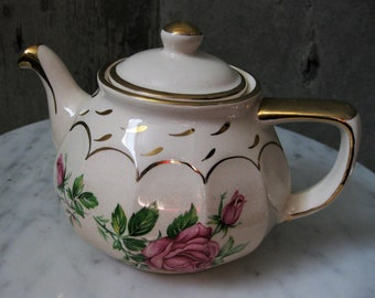 Price Bros England Teapot Pink Rose Motif Gold Detail Vintage China 1940s-1950s Four Cups
