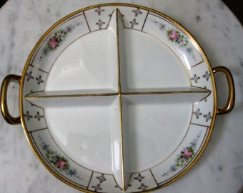 Nippon Japan Sectioned Condiment Relish Plate Handles Gilding Handpainted Porcelain Floral 1920s