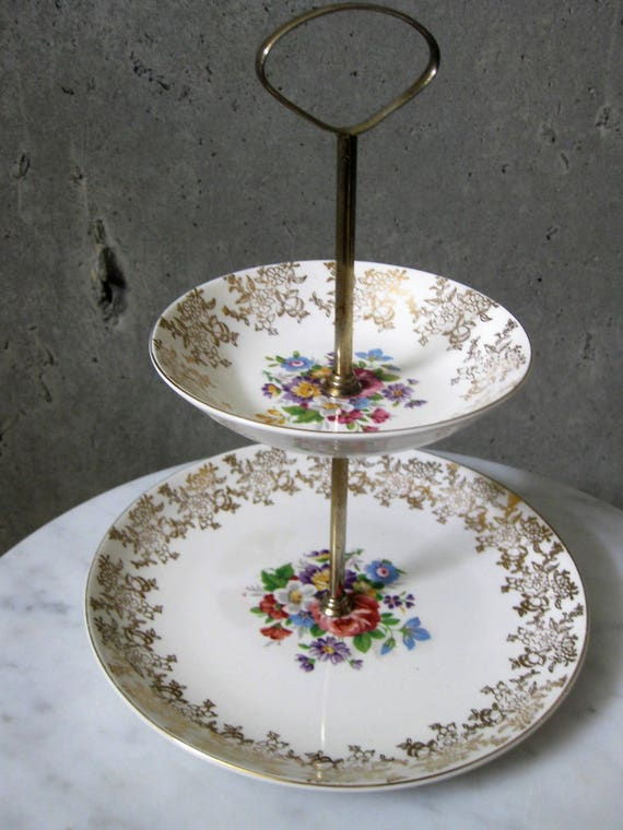 Weatherby Hanley Royal Falcon Ware Two Tier Cake Stand