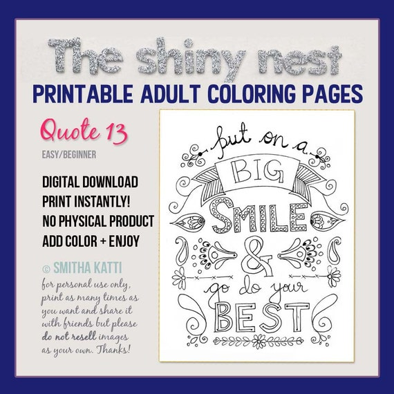 Quote Coloring Page Adult Coloring Pages Adult Colouring Etsy