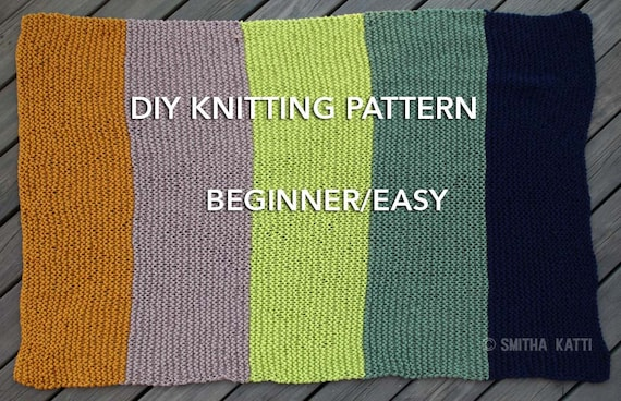 Diy Knitting Pattern Easy Beginner Chunky Blanket 5 Color Etsy