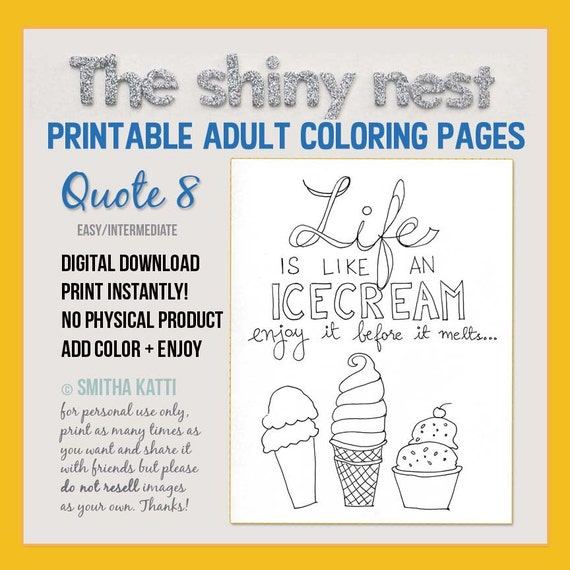 - Adult Coloring Page Life Quotes Icecream Quotes Printable Etsy