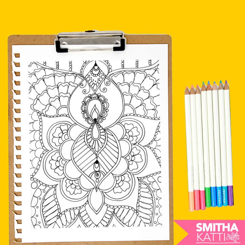 Henna Coloring Page Download | Etsy