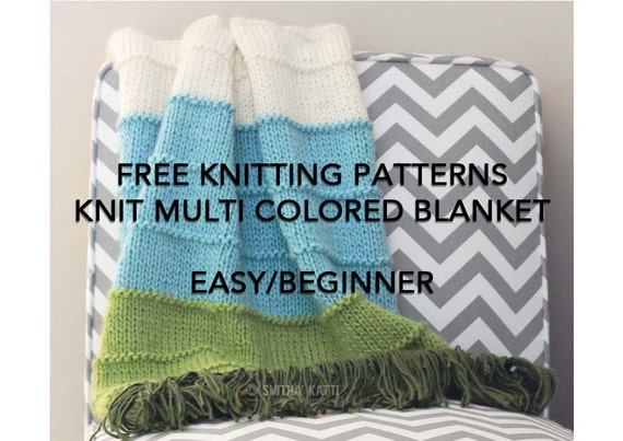 Free Knitting Patterns Diy Knitting Easy Beginner Blanket Etsy