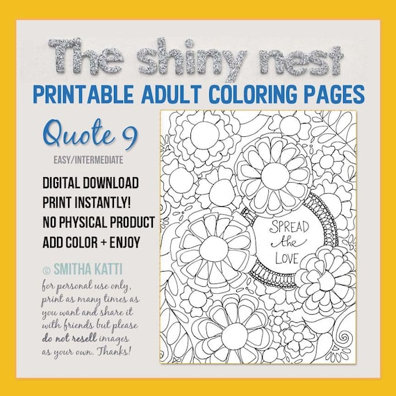Adult Coloring Quotes Digital Download Grown Up Coloring Etsy