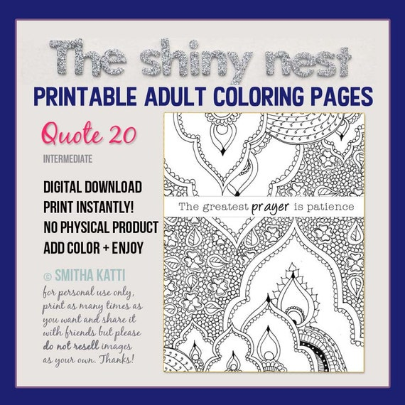 Coloring Pages For Adults Quotes Prayer Patience Quote Adult Etsy