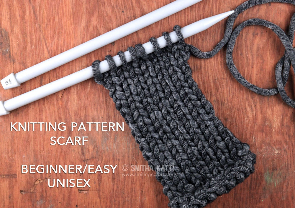 Knitting Pattern Scarf Easy Knitting Patterns Free Knitting Etsy