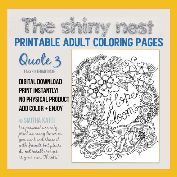 Adult Coloring Pages Printable Quote Coloring For Adults And Etsy