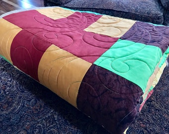 Scrappy Plus Large Lap Quilt or Throw - Homemade