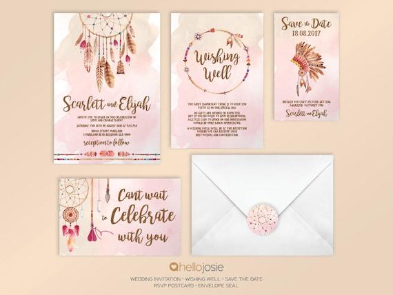 Diy Wedding Invitations Canada: Tribal Boho Dream Catcher Printable DIY Wedding Invitation