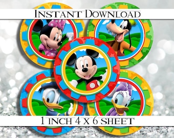 "INSTANT Download Clubhouse Mickey Mouse 4x6 Digital 1"" Inch Bottle Cap Image/Digital Collage sheet"
