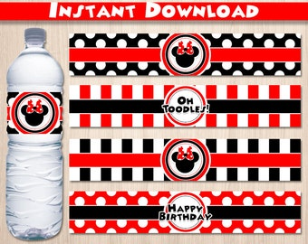 Minnie Mouse Red and Black Water Bottle Labels, Instant Download, pdf jpg