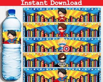 Superheroes Super Heroes Superhero Super Hero Water Bottle Labels, Instant Download, Pdf jpg