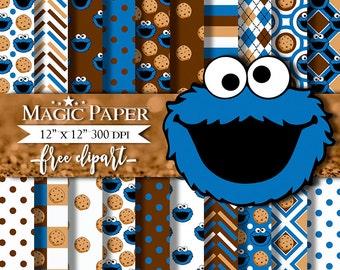 """Cookie Monster Digital Paper : """"COOKIE Monster Digital Paper""""- Cookie Monster Clipart, Cookie Monster Scrapbook, Cookies Monster PNG"""