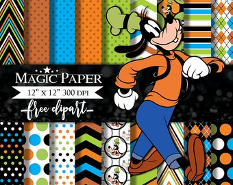 Goofy Digital Paper Clipart Scrapbook Instant Download