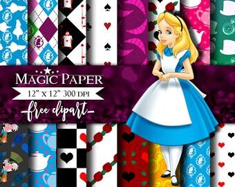 Alice in Wonderland Digital Paper Clipart Scrapbook Instant Download